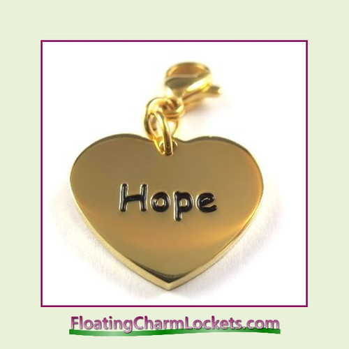 Stainless Steel Clip-On Charm:  Hope Heart (Gold) 18x15mm