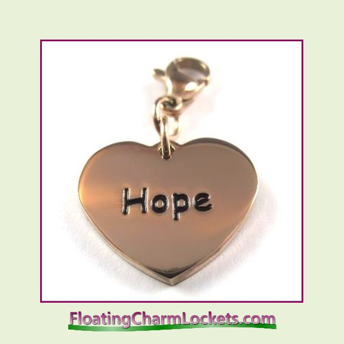 Stainless Steel Clip-On Charm:  Hope Heart (Rose) 18x15mm