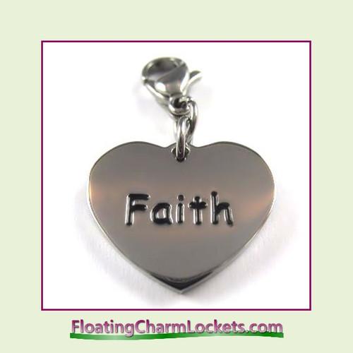 Stainless Steel Clip-On Charm:  Faith Heart (Silver) 18x15mm