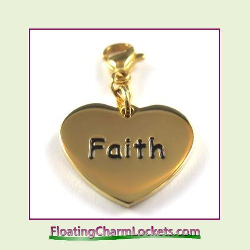 Stainless Steel Clip-On Charm:  Faith Heart (Gold) 18x15mm