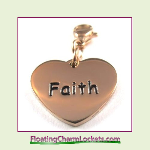 Stainless Steel Clip-On Charm:  Faith Heart (Rose) 18x15mm