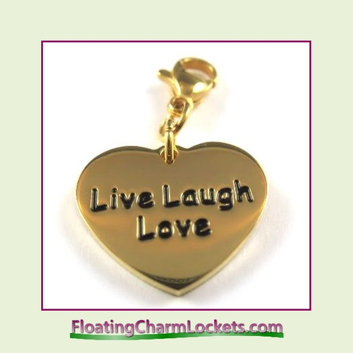 Stainless Steel Clip-On Charm:  Live Laugh Love Heart (Gold) 18x15mm