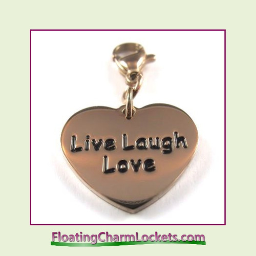 Stainless Steel Clip-On Charm:  Live Laugh Love Heart (Rose) 18x15mm