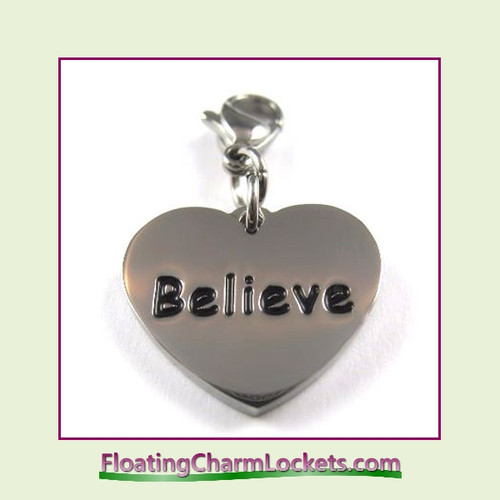 Stainless Steel Clip-On Charm:  Believe Heart (Silver) 18x15mm