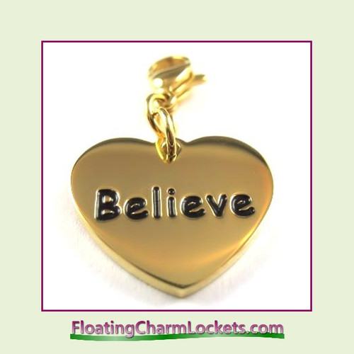 Stainless Steel Clip-On Charm:  Believe Heart (Gold) 18x15mm
