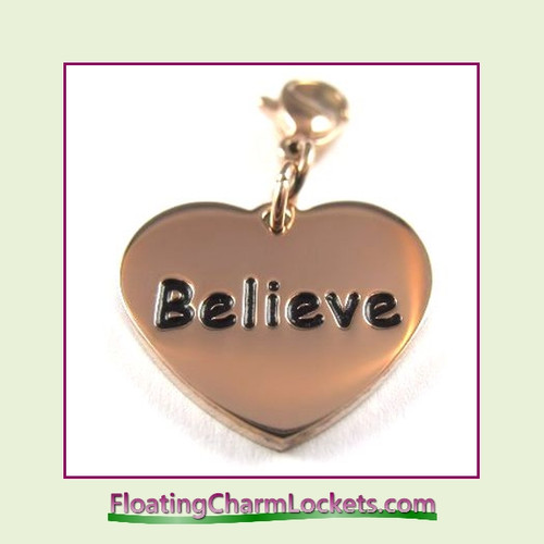 Stainless Steel Clip-On Charm:  Believe Heart (Rose) 18x15mm