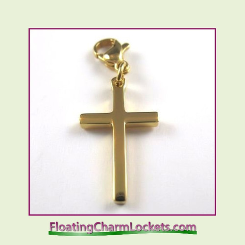 Stainless Steel Clip-On Charm:  Plain Cross (Gold) 12x20mm