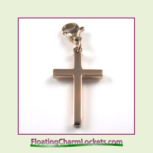 Stainless Steel Clip-On Charm:  Plain Cross (Rose) 12x20mm