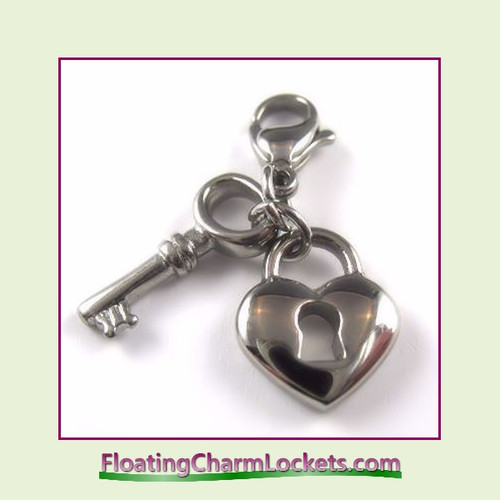 Stainless Steel Clip-On Charm:  Heart Lock and Key (Silver)