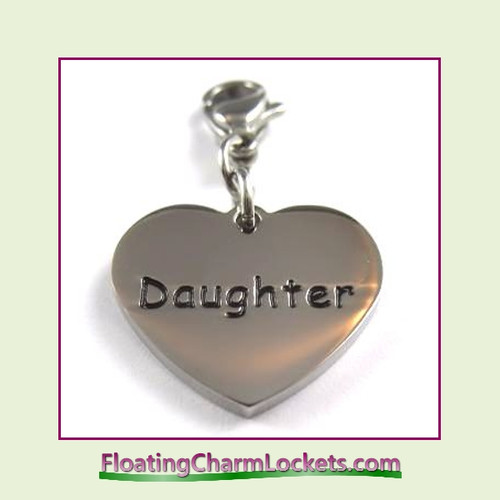 Stainless Steel Clip-On Charm:  Daughter Heart (Silver) 18x15mm