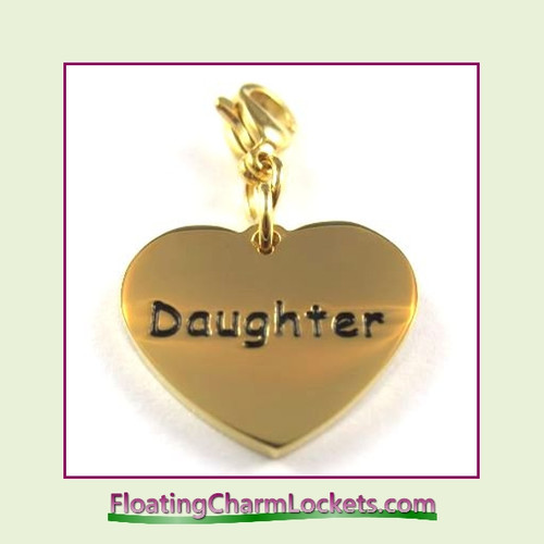 Stainless Steel Clip-On Charm:  Daughter Heart (Gold) 18x15mm