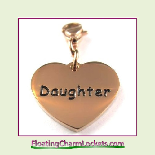 Stainless Steel Clip-On Charm:  Daughter Heart (Rose) 18x15mm