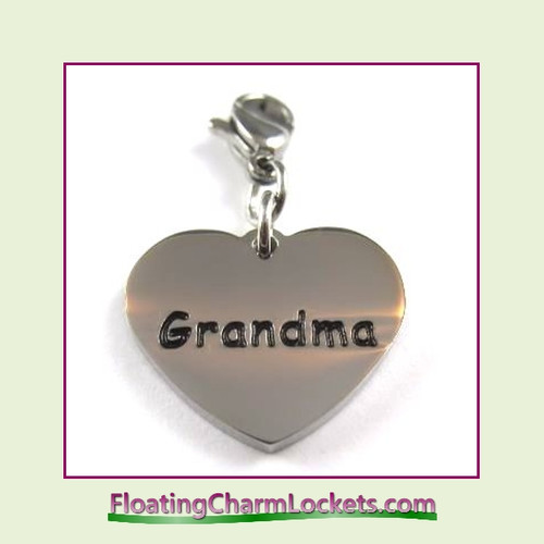 Stainless Steel Clip-On Charm:  Grandma Heart (Silver) 18x15mm