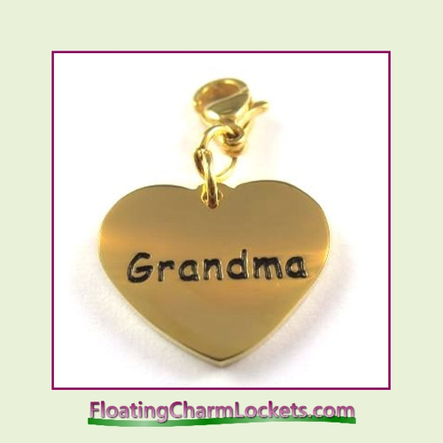 Stainless Steel Clip-On Charm:  Grandma Heart (Gold) 18x15mm