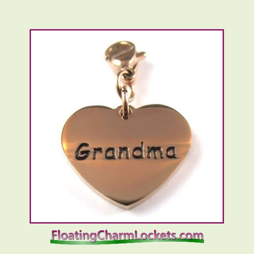 Stainless Steel Clip-On Charm:  Grandma Heart (Rose) 18x15mm
