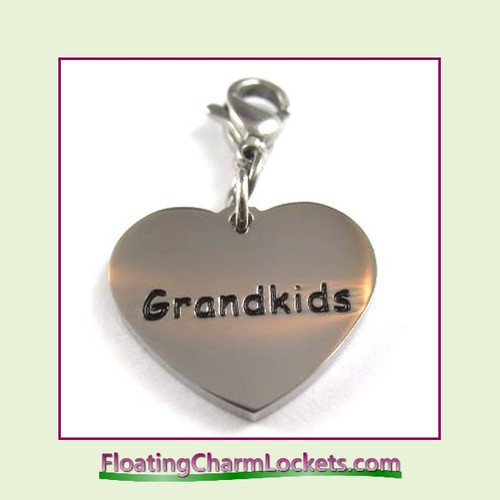 Stainless Steel Clip-On Charm:  Grandkids Heart (Silver) 18x15mm