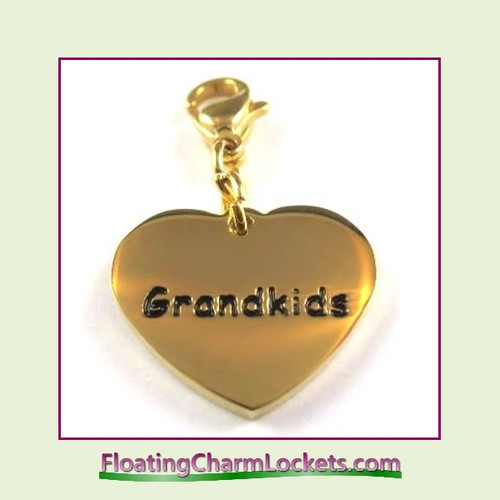 Stainless Steel Clip-On Charm:  Grandkids Heart (Gold) 18x15mm