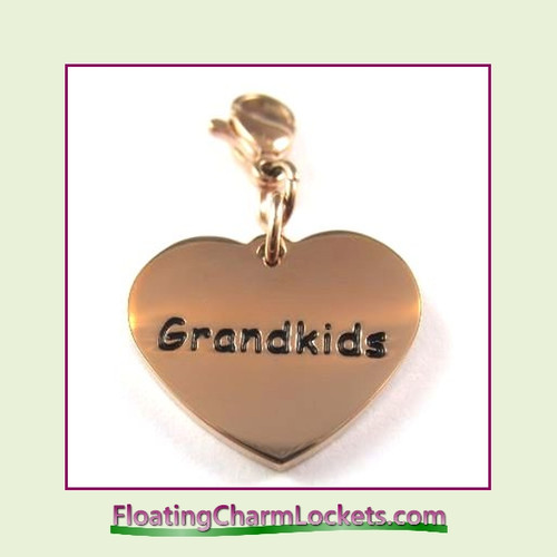 Stainless Steel Clip-On Charm:  Grandkids Heart (Rose) 18x15mm