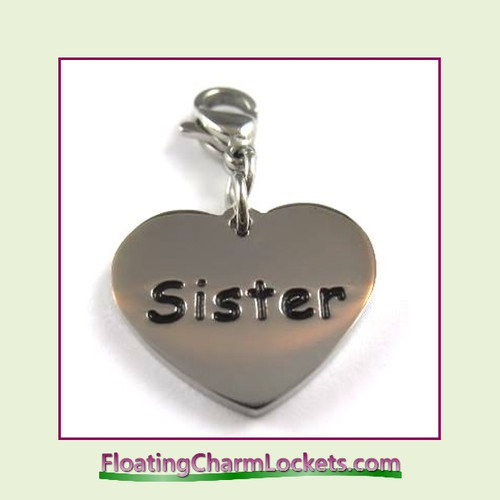 Stainless Steel Clip-On Charm:  Sister Heart (Silver) 18x15mm