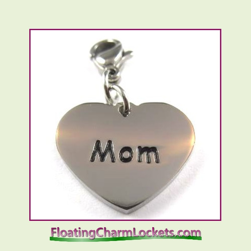Stainless Steel Clip-On Charm:  Mom Heart (Silver) 18x15mm