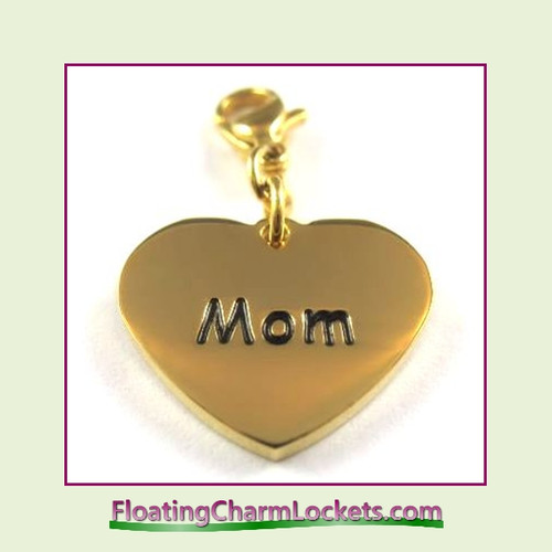 Stainless Steel Clip-On Charm:  Mom Heart (Gold) 18x15mm
