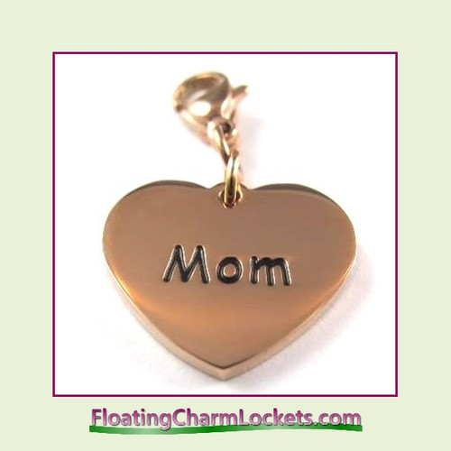 Stainless Steel Clip-On Charm:  Mom Heart (Rose) 18x15mm