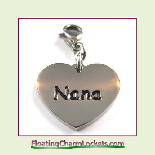Stainless Steel Clip-On Charm:  Nana Heart (Silver) 18x15mm
