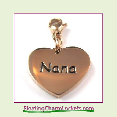Stainless Steel Clip-On Charm:  Nana Heart (Rose) 18x15mm