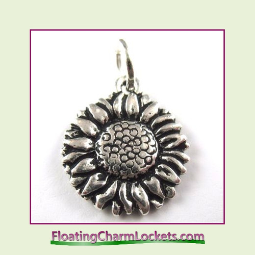 O-Ring Charm:  Sunflower (Silver) 15x15mm