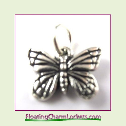 O-Ring Charm:  Butterfly (Silver) 16x12mm