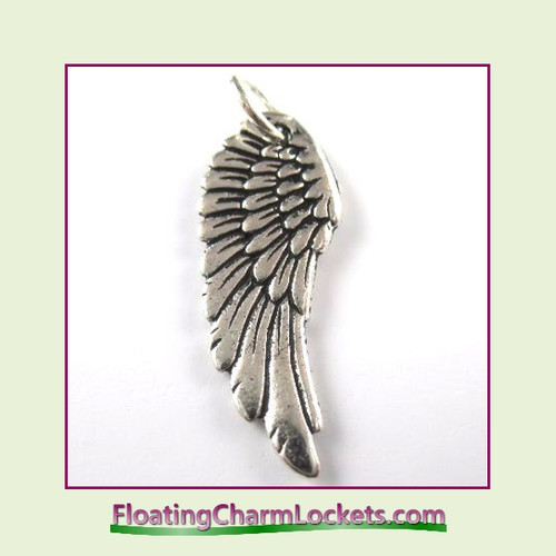 O-Ring Charm:  Angel Wing (Silver) 11x27mm