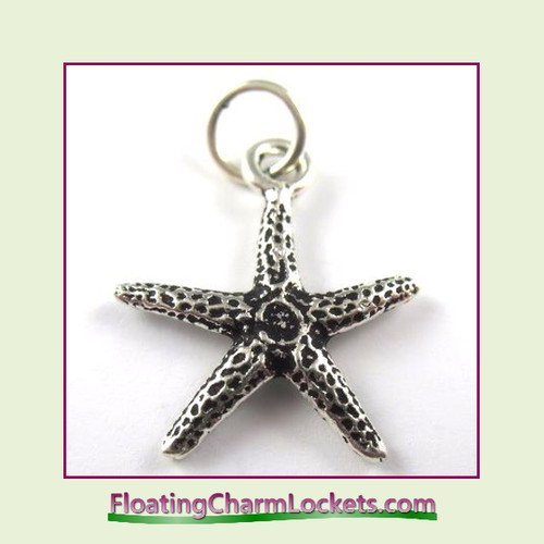 O-Ring Charm:  Starfish (Silver) 19x19mm