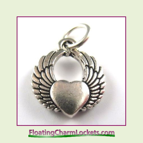 O-Ring Charm:  Winged Heart (Silver) 15x15mm