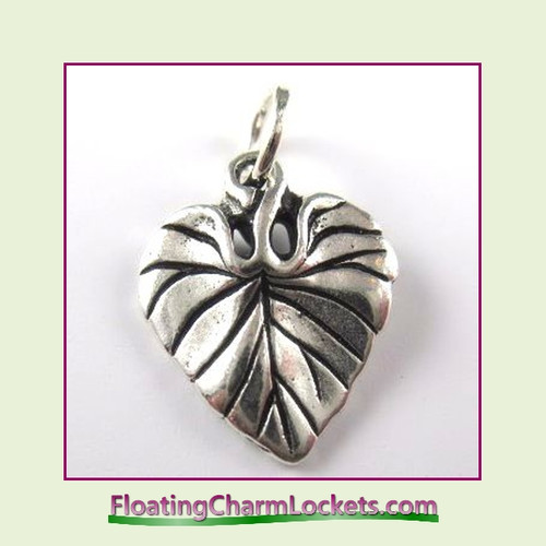 O-Ring Charm:  Leaf (Silver) 15x20mm