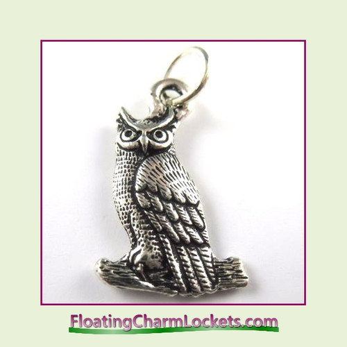 O-Ring Charm:  Owl (Silver) 15x20mm