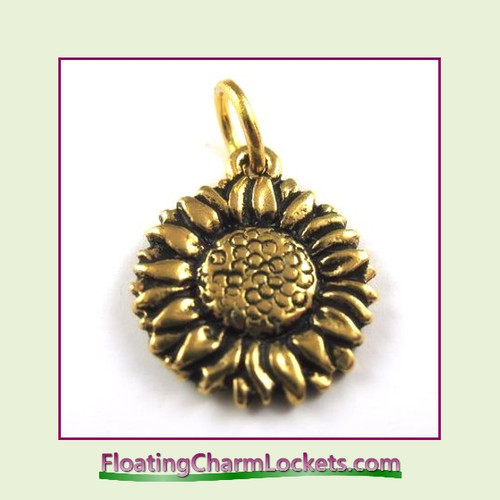 O-Ring Charm:  Sunflower (Gold) 15x15mm
