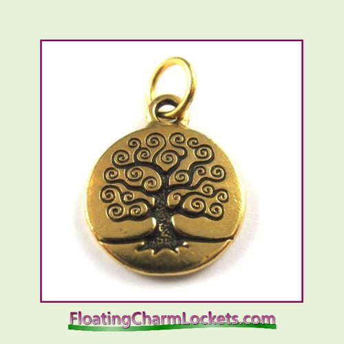 O-Ring Charm:  Tree of Life (Gold) 15x15mm