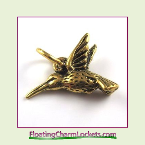 O-Ring Charm:  Hummingbird (Gold) 19x19mm