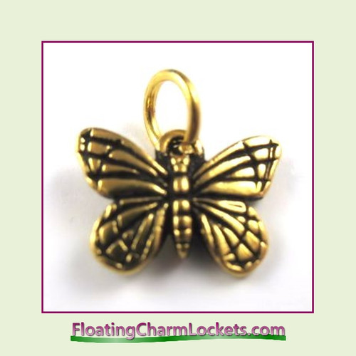 O-Ring Charm:  Butterfly (Gold) 16x12mm