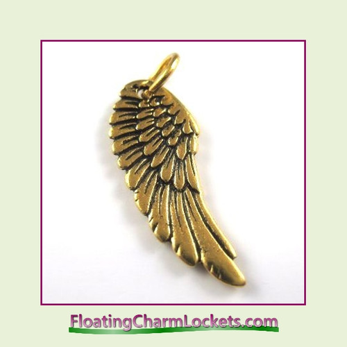 O-Ring Charm:  Angel Wing (Gold) 11x27mm