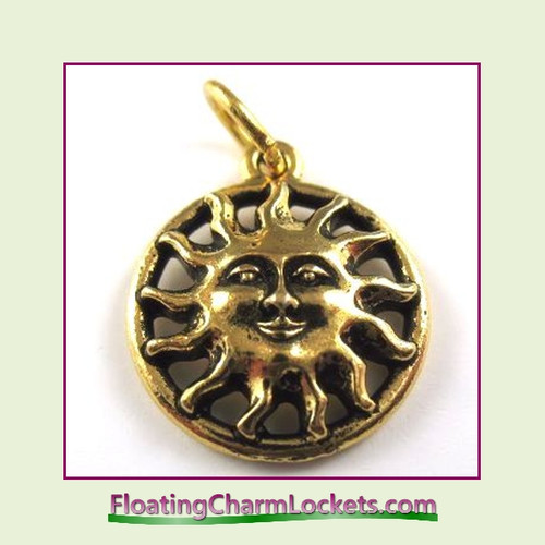 O-Ring Charm:  Sun Face (Gold) 16x16mm