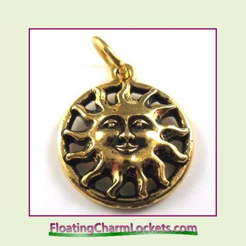 O-Ring Charm:  Sun Face (Gold) 16x16mm