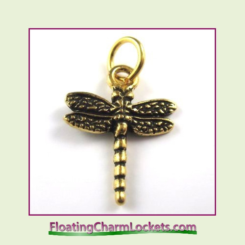 O-Ring Charm:  Dragonfly (Gold) 16x17mm