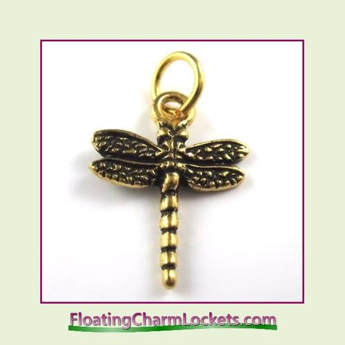 O-Ring Charm:  Dragonfly (Gold) 16x17mm
