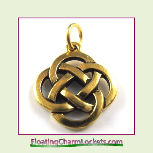 O-Ring Charm:  Celtic Round (Gold) 18x18mm