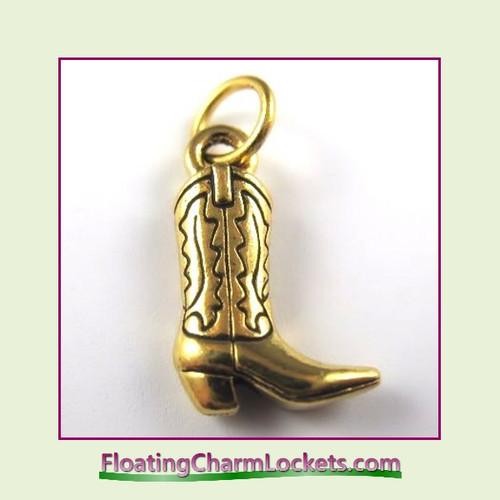 O-Ring Charm:  Cowboy Boot (Gold) 11x15mm