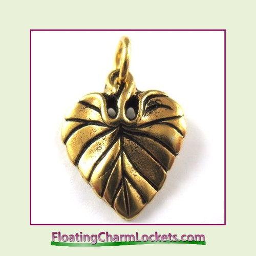 O-Ring Charm:  Leaf (Gold) 15x20mm