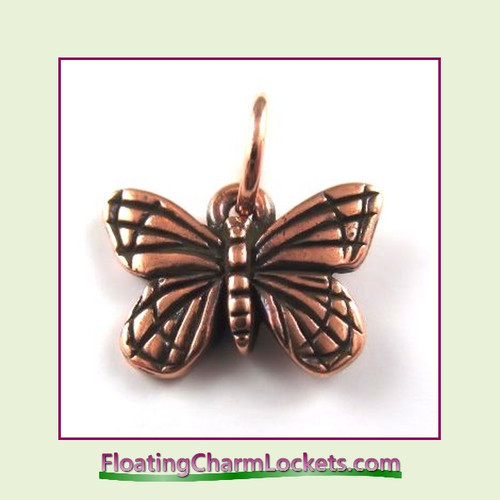O-Ring Charm:  Butterfly (Rose) 16x12mm