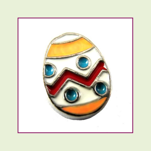 Easter Egg White (Silver Base) Floating Charm