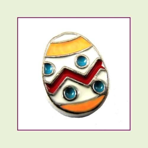 Easter Egg White (Silver Base) Floating Charm